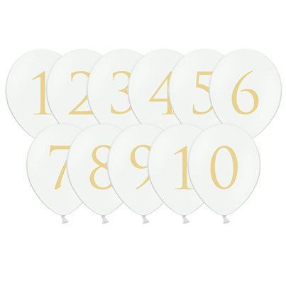 "White Wedding Table Number Balloons - 12"" Latex"