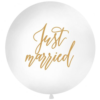 "Gold Just Married Giant Balloon - 36"" Latex"