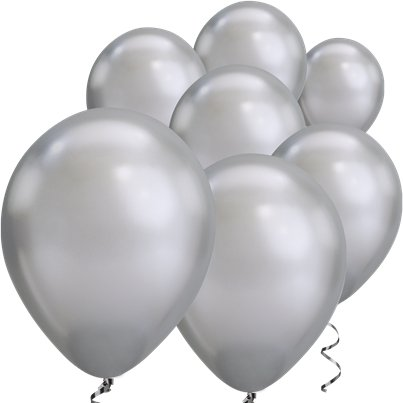 "Silver Chrome Balloons - 7"" Latex"