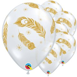 "Gold Peacock Feathers Balloon - 12"" Latex"