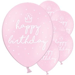 Pastel Pink Happy Birthday Latex Balloons - 12""