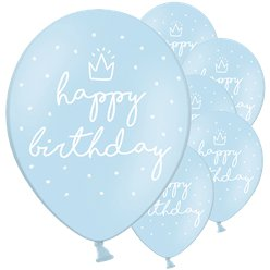 Pastel Blue Happy Birthday Latex Balloons - 12""