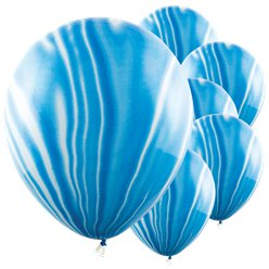 Blue Marble Latex Balloons - 12""