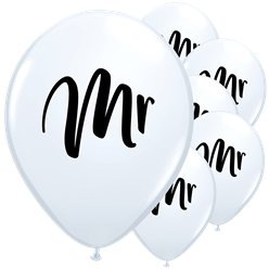 "White Mr Balloons - 11"" Latex"