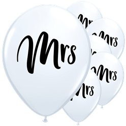 "White Mrs Balloons - 11"" Latex"