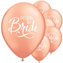 "Rose Gold Team Bride Balloons - 11"" Latex"