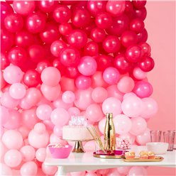 Ombre Pink Balloon Wall - 210 Balloons