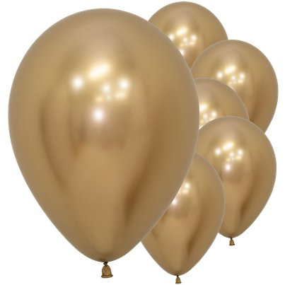 "Gold Reflex Balloons - 12"" Latex"
