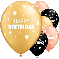 "Happy Birthday Dot Mix Balloons - 11"" Latex"