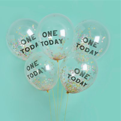"One Today Confetti Balloons - 12"" Latex"