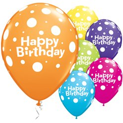 "Happy Birthday Big Polka Dots Balloons - 11"" Latex"