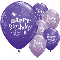 "Happy Birthday Purple Sparkle Balloons - 11"" Latex"