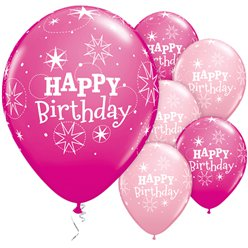 "Happy Birthday Pink Sparkle Balloons - 11"" Latex"