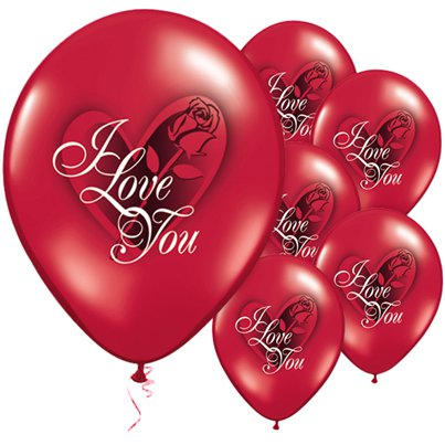 "I Love You Rose Valentines Balloons - 11"" Latex"