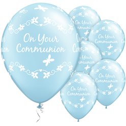 "First Holy Communion Blue Butterflies Balloons - 11"" Latex"