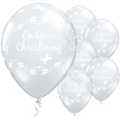 "On Your Christening Diamond Clear Butterflies Balloons - 11"" Latex"