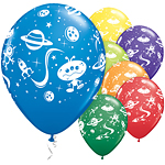 "Aliens & Spaceships Balloons Assortment - 11"" Latex"