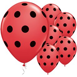 "Red & Black Polka Dots Balloons - 11"" Latex"