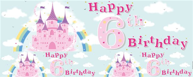 Fairytale Castle 6th Birthday Foil Banner - 2.6m
