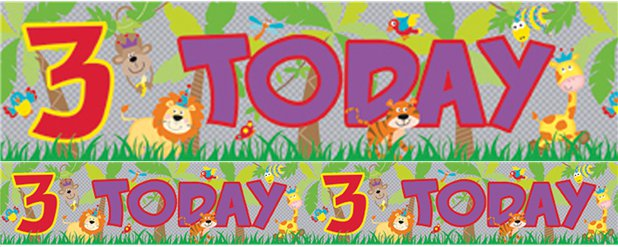 Holographic Animals 3rd Birthday Foil Banner - 2.6m