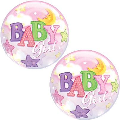 Baby Girl Moon & Stars Bubble Balloon - 22""