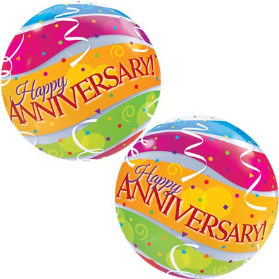 Anniversary Colourful Bands Bubble Balloon - 22""