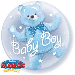 Baby Boy Blue Bear Double Bubble Balloon - 24""
