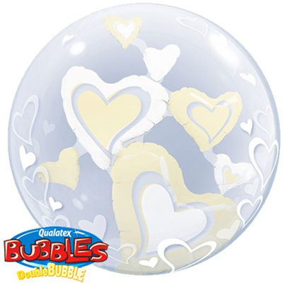 Wedding White & Ivory Floating Hearts Double Bubble Balloon - 24""