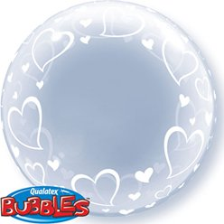 Valentines Heart Design Clear Bubble Balloon - 24""