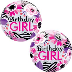 Birthday Girl Floral Zebra Bubble Balloon - 22""