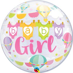 'Baby Girl' Bubble Balloon - 22""