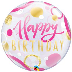 Birthday Pink & Gold Dots Bubble Balloon - 22""
