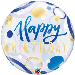 Birthday Blue & Gold Dots Bubble Balloon - 22""