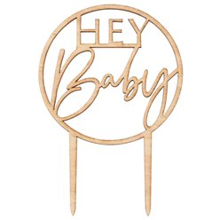 Botanical Baby Wooden Hey Baby Cake Topper - 20cm