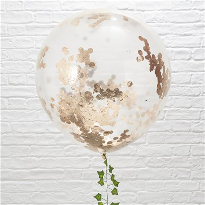 "Beautiful Botanics Giant Rose Gold Confetti Balloons - 36"" Latex"