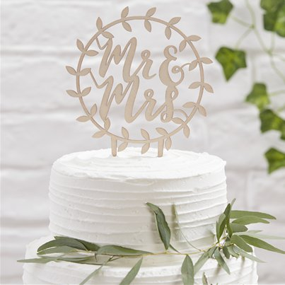 Beautiful Botanics Wooden 'Mr & Mrs' Cake Topper