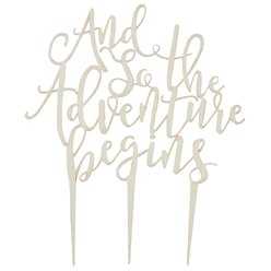 Beautiful Botanics 'And So The Adventure Begins' Wooden Cake Topper