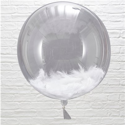 "Beautiful Botanics White Feather Filled Orb Balloons - 18"" Orb"