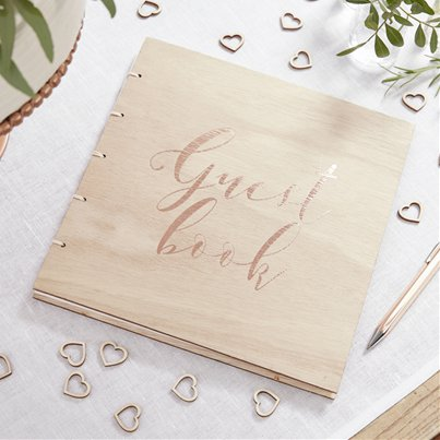 Beautiful Botanics Wooden Rose Gold Foiled Guest Book
