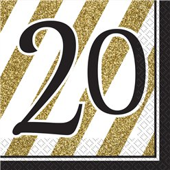 20th Birthday Black & Gold Glitter Napkins - 3ply Paper