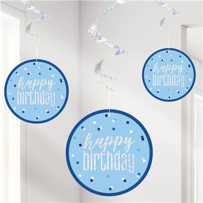 Blue Birthday Glitz Hanging Swirls - 80cm