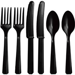Black Reuseable Plastic Cutlery - Assorted Party Pack