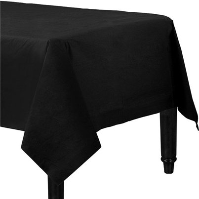 Black Plastic Lined Paper Tablecover - 1.4m x 2.8m