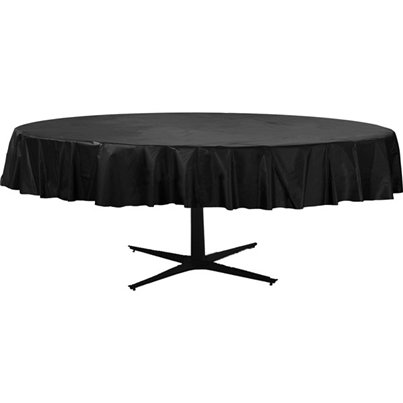 Black Round Plastic Tablecover - 2.1m