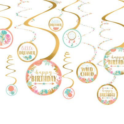 Boho Birthday Girl Spiral Hanging Decoration