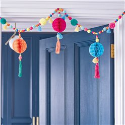 Boho Fabric Pom Pom & Tassel Garland - 3ft