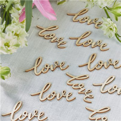 Boho Wooden Wedding Love Confetti