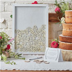 Boho Wedding Wooden Frame Guest Book With 70 Hearts
