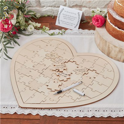 Boho Wedding Wooden Heart Jigsaw Guest Book