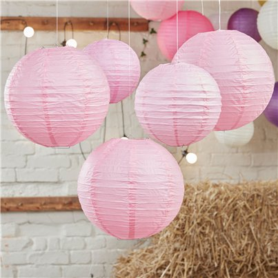 Boho Wedding Baby Pink Paper Lanterns - 30cm & 20.5cm